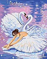 フレームレスdiyデジタル油絵手描き美しい人々風景画白鳥の妖精40 * 50
