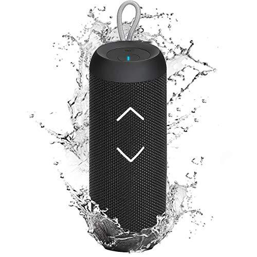KKUYI Bluetooth Lautsprecher Wasserdicht IPX6, Tragbare Drahtlose Lautsprecher mit 24 Stunden Spielzeit, 360 ° Surround Stereo Sound, Verstärkter Bass, Mikrofon, TWS-Lautsprecher für Partys im Freien