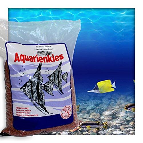 Farbkies Kupferbraun Aquarium Deko Kies Aquariengrund Aquariumkies Bodengrund Körnung 2-4 mm 20 kg (4 x 5 kg Beutel)