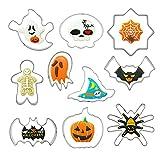 10 Pezzi Formine Biscotti di Acciaio Inox, Halloween Stampi Biscotti Formine per Bambini e Adulti Rendere Cookie Fondant Dolci DIY Decorazioni Vari Tipi Set di Formine per Biscotti