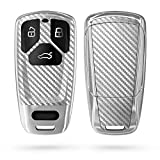 kwmobile Funda Compatible con Audi - Carcasa para Llave del Coche Audi Llave de Coche Smartkey de 3 Botones (Solo Keyless Go) - diseño Carbono