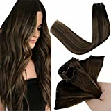 LaaVoo Micro Beads Weft Human Hair Extensions 22 Pulgada One Piece Cabello Humano Extension con Micro Bead Invisible Secret Balayage #2 Brown Ombre to #8 Brown Weave Hair EZ Weft 12' Width 50 Gramo