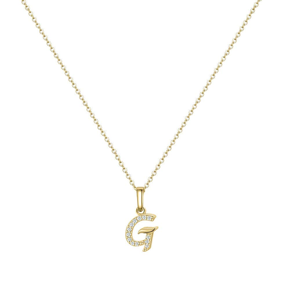 Hidepoo Initial Necklace for Women 14k Gold Filled Dainty Cubic Zirconia Monogram Letter Pendant Necklace Tiny Cursive Uppercase 26 Alphabet Initial Necklace Charm Jewelry Gifts for Girls Bridesmaid