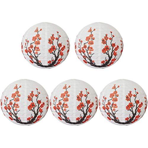 HDHUIXS Calzo 5pcs Chino Japonés Cereza Flores de la Linterna de la Bola Colgante lámparas linternas Decoración de Pared de 30 cm de la Puerta del Banquete de Boda Inicio (Rojo Blanco) Sencillo