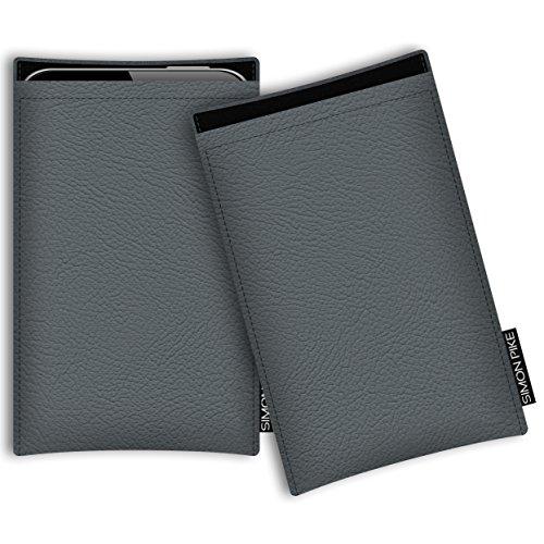 SIMON PIKE Hülle Tasche kompatibel mit Microsoft Surface Duo | Schutztasche Boston in 01 grau aus Kunstleder Handyhülle