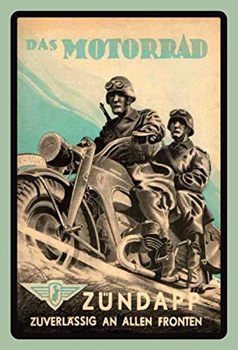 Zündapp Motorrad mit Soldaten Werbung Blechschild Metallschild Schild gewölbt Metal Tin Sign 20 x 30 cm