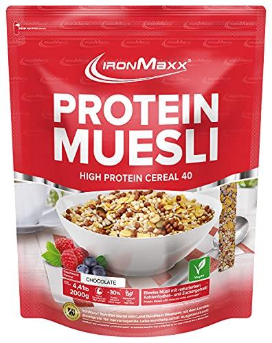 IronMaxx Protein Müsli Veganes Eiweißmüsli laktosefrei, Geschmack Schokolade, 2 kg Beutel (1er Pack)