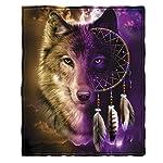 Dawhud Direct Wolf Dreamcatcher Fleece Throw Blanket