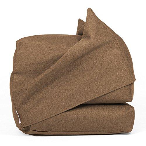 Arketicom FU-TOUF Pouf Lit 190 cm Chauffeuse Canapè Tissu Pliable Chambre Sable Brun