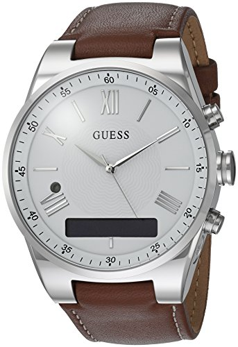 Guess Damen Analog-Digital Quarz Uhr mit Leder Armband C0002MB1