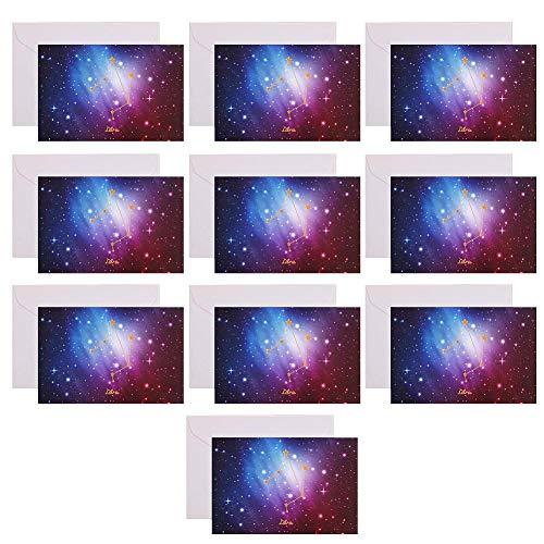 UMTGE Twaalf Constellaties Wenskaart Dank U Kaart Vierkant Creatieve Kaart met Envelop voor bruiloft, Zegen, Verjaardag, 10 PCS(Sagittarius) Weegschaal