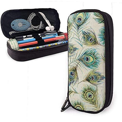 Peacock Feather Pen Case Big Capacity Pencil Bag Makeup Pouch Durable Students Stationery with Double Zipper