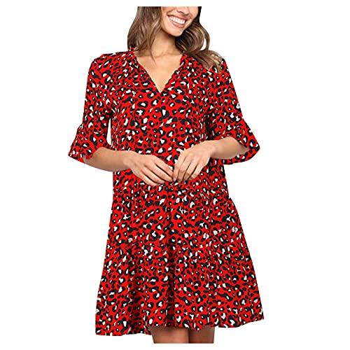 YANFANG Vestidos De Moda Vestido Verano Color Puro con Cuello En V Y Manga Cuerno para Mujer,Moda Mujer Vestidos,Vestido Verde Estampado 2021,Rojo,XL