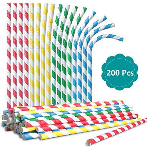 Sameants 200PCS Flexible Papier Strohhalme Biologisch Abbaubare Bunte Papier Trinkhalme Einweg Strohhalme für Geburtstag Hochzeit Weihnachten Feier Parteien für Erwachsene und Kinder