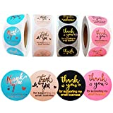4 Rolls 2000 Pieces Thank You Stickers Labels, 1 Inch Thank You for Supporting My Small Business Stickers for Envelopes, Bubble Mailers and Gift Boxes, Bags, Packaging