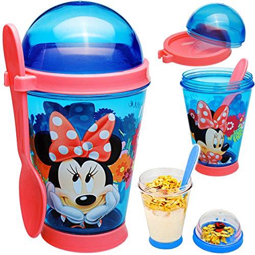 alles-meine.de GmbH Joghurtbecher / Müslibecher - to go - mit Löffel - Disney - Minnie Mouse - 350 ml - Kinder - BPA frei - Tritan - Kunststoff Plastik - Plaste Glas - Salatbeche..