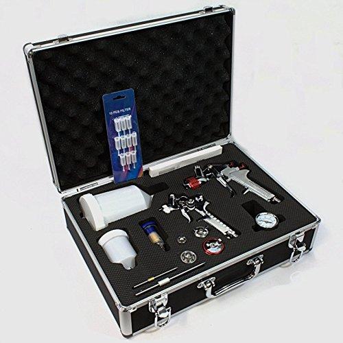 2 x HVLP Spritzpistole Lackierpistole 4 Düsen im Alukoffer Koffer Set mit Zubehör / 0696007712314