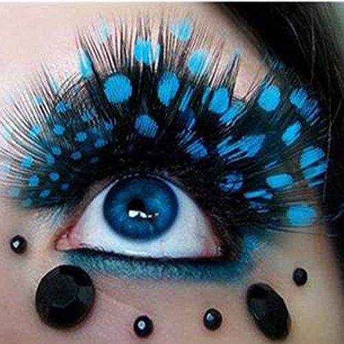 Sannysis 1 pare pestañas postizas extensión maquillaje, pluma de colores (azul)