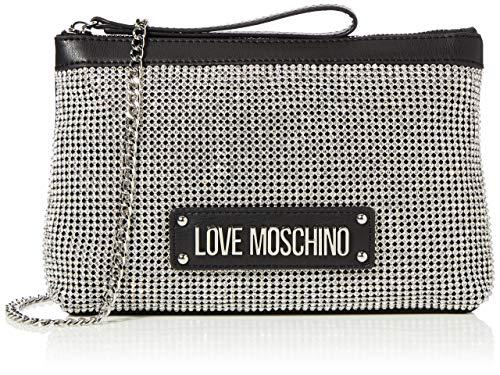 Love Moschino Damen Jc4050pp1a Handgelenkstasche, Silber (Argento Nero), 4x15x24 Centimeters