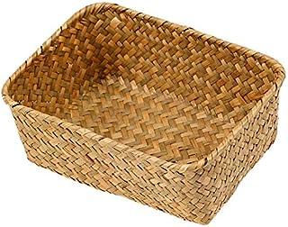 Basket de Rangement à la Main Boîte de Rangement tissé Rectangle Vêtements Gadgets Panier Conteneur Home Storage Organisat...