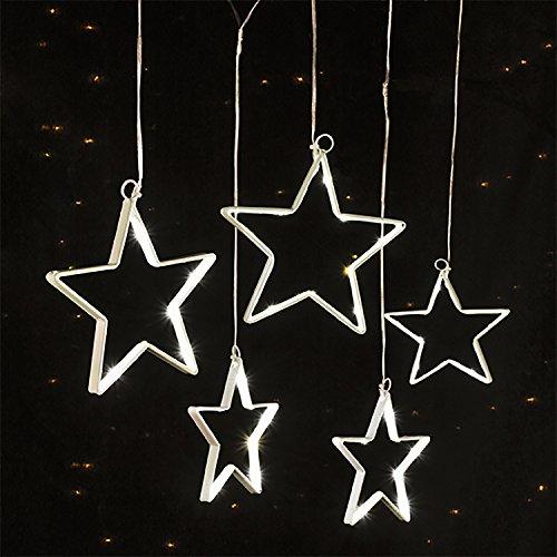 LED-Lichterkette Sternenkette Fensterbeleuchtung Weihnachten 5 Sterne mit 75 warm-weißen LEDs