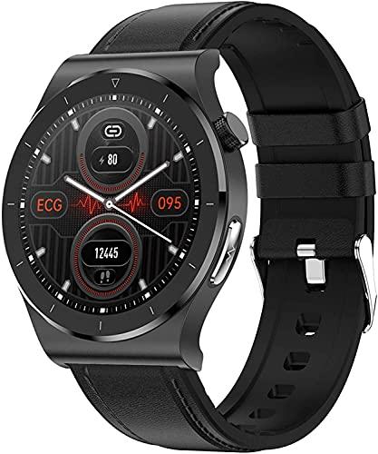 QHG Sports Smart Watch para Hombres Mujeres Monitor de Ritmo cardíaco Presión Arterial Smart Bluetooth Pulsera Pulsera de Salud Inteligente Pulsera atlética (Color : LeatherBlack)