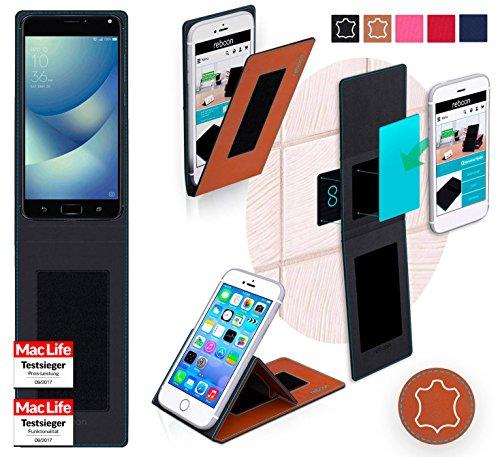 Hülle für Asus Zenfone 4 Max Pro Tasche Cover Hülle Bumper | Braun Leder | Testsieger