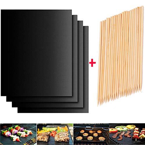 HCDMRE 4er Set BBQ Grillmatte, 40x60cm Grill Teflon Matte, Grillspieße aus Bambus, Antihaft Grillmatte, BBQ Grillmatten Fuer Gasgrill, Bequee Grillmatte