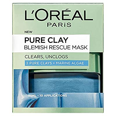 L'Oreal Paris Pure Clay Blemish Rescue Blue Algae Face Mask 50 ml by Loreal