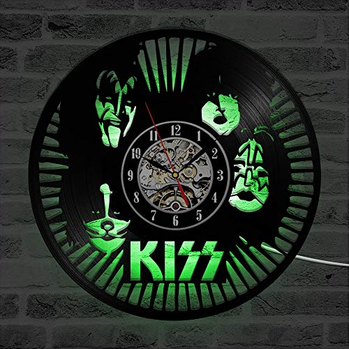 LED Colorful vinyl wall clock Rock band LED wall clock modern design classic CD clock seven colors backlit vinyl record wall watch home decoration mute