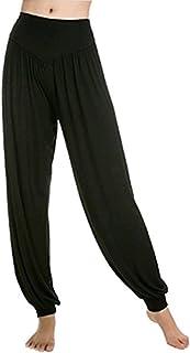 comprar comparacion Leisial Pantalones de Yoga Algodón Suave Piernas Pantalones Anchos Sólido Color Elástico Pretina Pantalones Bombachos de F...