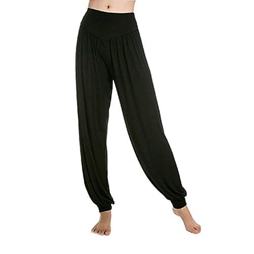 Leisial Pantalones de Yoga Algodón Suave Piernas Pantalones Anchos Sólido  Color Elástico Pretina Pantalones Bombachos de a6698106ed7b