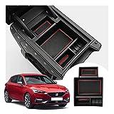 LFOTPP Seat Leon Cupra 5F FR MK3 Apoyabrazos Consola Central Bandeja, Caja de Almacenamiento Organizador coche Interior Accesorios (Rojo)