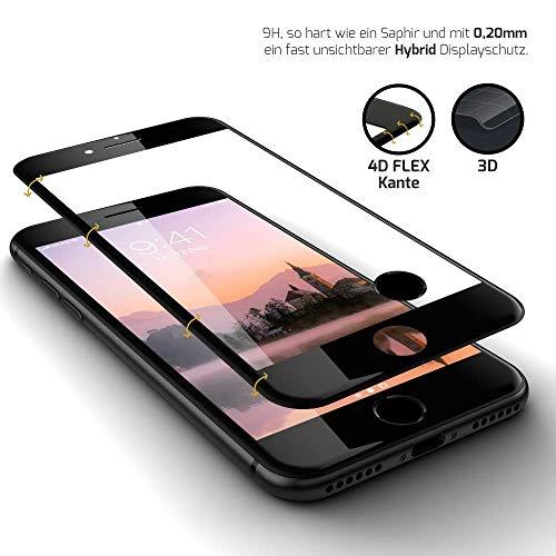 GLAZ HYBRID Panzerglas schwarz, Kompatibel Mit iPhone 8 Plus, Panzerglasfolie, Ink. Applikator, Staubfrei, Blasenfrei, 4D Full Screen, Premium Displayschutzfolie, Panzerfolie, inkl. Touch-ID Button