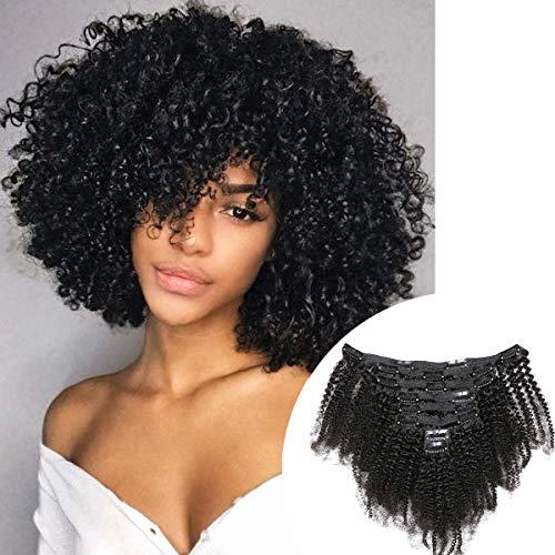 Isheeny Clip in Menschliches Haar Schwarz Curly Extenisons Clip in Haarverlängerung Kinky Curly Extensions Echthaar Clip in Schwarz Clip in Extensions Echthaar 8PCS/120g 40CM Natürliches Schwarz