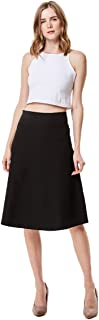 MoDDeals Women's High Waist A-line Below The Knee Flared Midi Skirt Stretch Woven and Suede