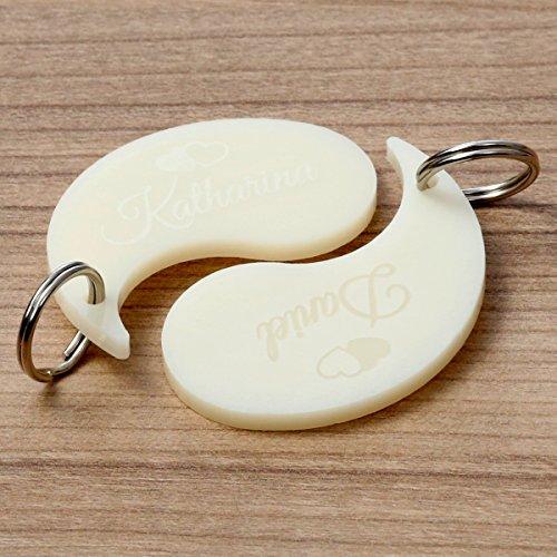 Bütic GmbH Plexiglas® farbige Liebes-Anhänger Acrylglas Schlüsselanhänger mit Wunschgravur, Motiv:Yin Yang Creme