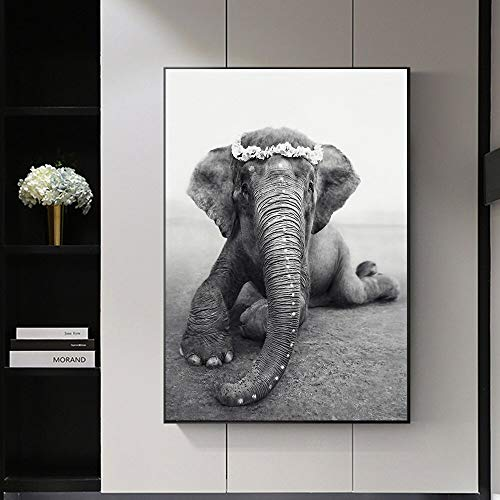 ZNuQP Landscape Canvas Painting Animal Wall Art African Elephant Black and White Mural Living Room Decoration Home Decoration(Frameless) 50x70cm
