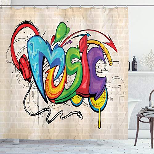 ABAKUHAUS Duschvorhang, Musik Grafiti Schriftzug im Grunge Kopfhörer Bunt zurück Bass So& Music Thema Druck, Wasser & Blickdicht aus Stoff mit 12 Ringen Schimmel Resistent, 175 X 200 cm