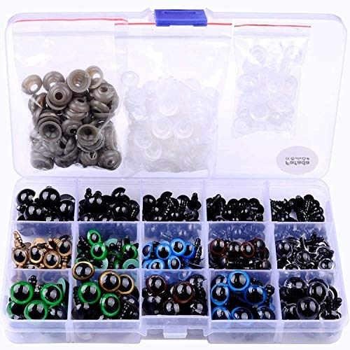 VENTCY Fafada 264pz 6-12mm Colorato Occhi di Sicurezza Occhi di Plastic con Rondelle per Bambola, Pupazzo, Peluche …