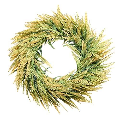 SHENXINCI Artificial Corona de Guirnalda,20 Pulgadas Corona de Espiga de Trigo Planta Flor Falsa con Cuerda de Cáñamo y Gancho,Guirnalda Verde Decoración de La Puerta de Entrada Corona de Verano