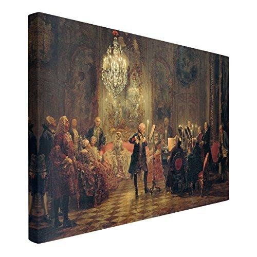 Bilderwelten Leinwandbild - Adolph von Menzel - Flötenkonzert - Quer 2:3, 80cm x 120cm