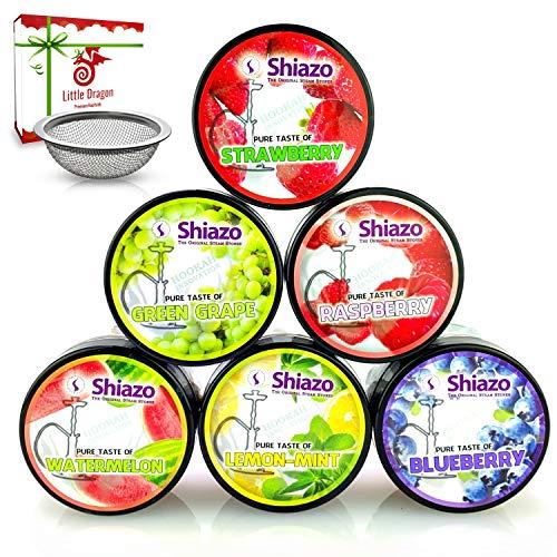 Little Dragon Shiazo Shisha Steine [6X 100Gr] Intensiver Geschmack und überragende Dampfentwicklung - Nikotinfreier Shisha Tabak Ersatz + Gratis Shisha-Sieb - Shisha Dampfsteine - Shisha Zubehör