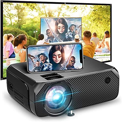 tyui Proyector, Mini teléfono móvil, WiFi inalámbrico, Proyector de la Misma Pantalla, Soporte para HD HD 1080P Micro LED, Percha + Android Incorporado + Bluetooth