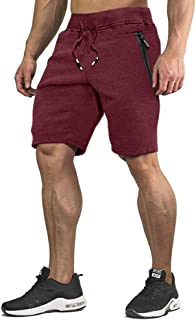 Men's Cotton Joggers Casual Workout Shorts Running Shorts with Zipper Pockets