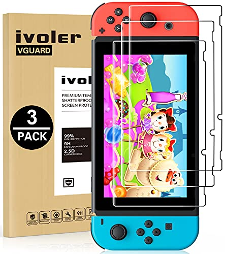 [3 Pack] Screen Protector Tempered Glass for Nintendo Switch, iVoler Transparent HD Clear...
