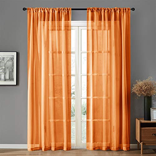 MRTREES Orange Sheer Curtains Kids Room 84 inches Long Sheers Nursery Voile Curtain Panels Light Filtering Living Room Drapes Bedroom Window Treatment Set 2 Panels