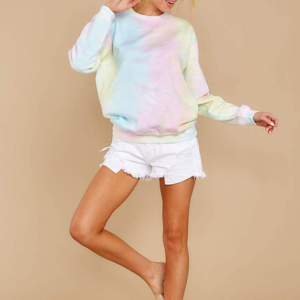Gradient Long Sleeve Top Shirts Tie-Dye Printed Sweatshirt Casual Loose Pullover Top Blouse F/_topbu Sweater for Women