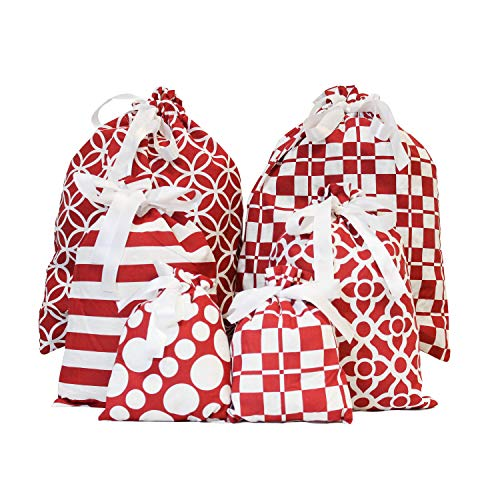 6 Red Elegant Fabric Gift Bags for Party Favors, Holiday Gift Giving, Goody Bags, Holiday Presents Décor, Giant Gifts Decorations