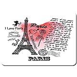 LINARUBE Antideslizante Alfombra De Baño,Amor,parís,Torre Eiffel,en,Plano de Fondo,Alfombra de Cocina Alfombra Mascota,Alfombras de Ducha 80x60cm